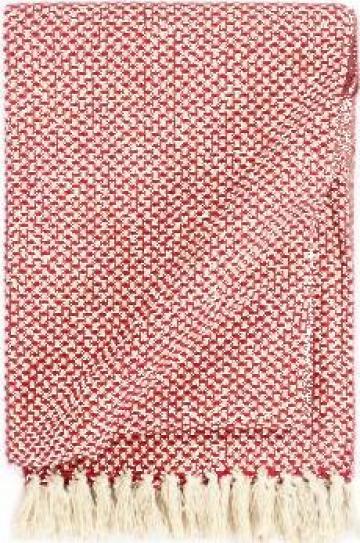 Patura decorativa, rosu, 160 x 210 cm, bumbac de la Vidaxl