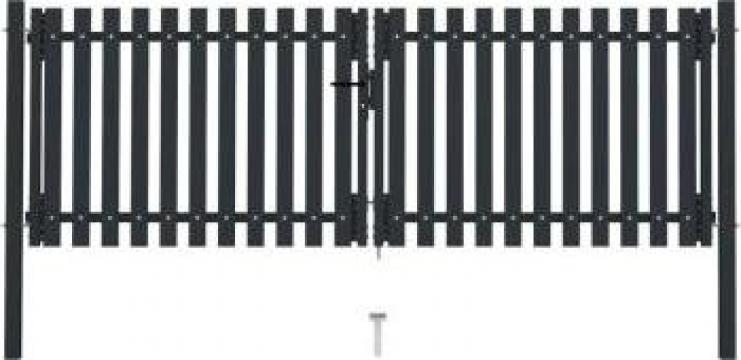 Poarta de gard dubla, antracit, 306 x 175 cm, otel