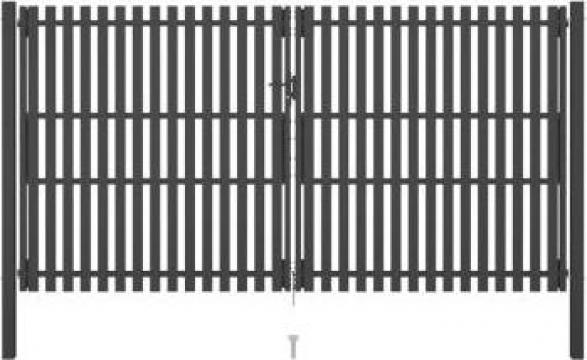 Poarta de gard gradina, antracit, 4 x 2,5 m, otel de la Vidaxl