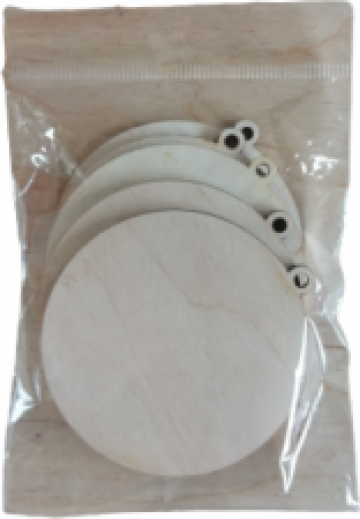 Baza lemn glob, rotund, 7.5 cm, set 5 buc