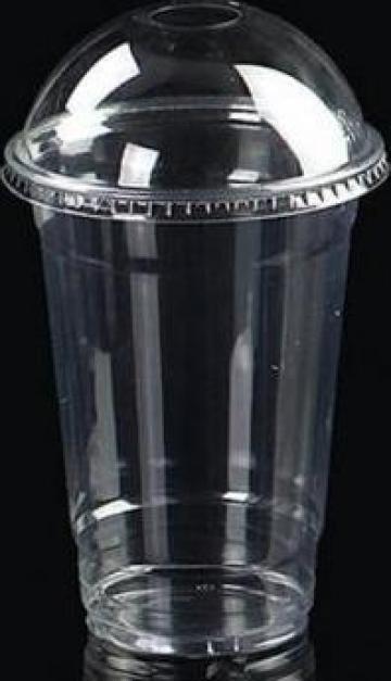 Pahar transparent gros din plastic 400ml+capac 100 buc/set de la Cristian Food Industry Srl.