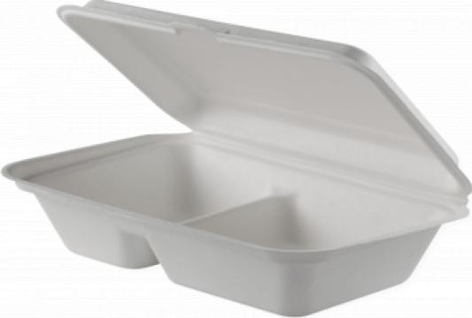 Caserola biodegradabila meniu 2 compartimente 500 buc/bax de la Cristian Food Industry Srl.