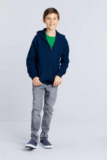 Bluzon baieti Heavy Blend Youth Full Zip Hooded Sweatshirt de la Top Labels