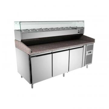 Masa frigorifica pizza 60x40cm cu vitrina ingrediente de la GM Proffequip Srl