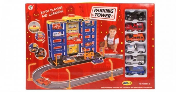 Jucarie parcare Parking Tower cu masinute pe 4 niveluri