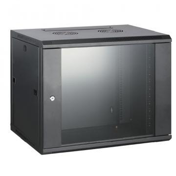 Rack cabinet de perete 9U, D:600x600x500 mm, 60 kg, negru