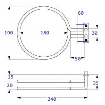 Rezistenta circulara 2600W, 220V , DI 180mm, DE 194mm
