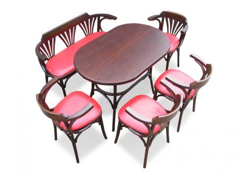 Set Masa si Bancuta Bistro + 4 scaune lemn curbat
