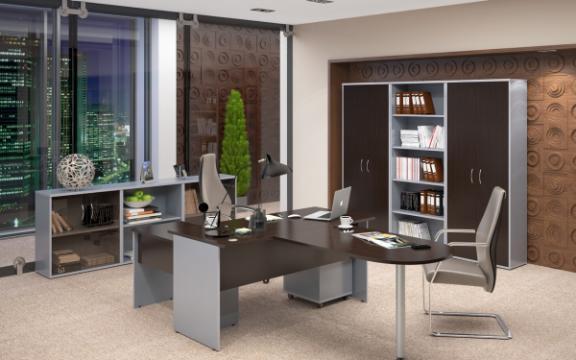 Set mobilier birou executiv Imago wenge/gri metalic de la Sembazuru Art Srl