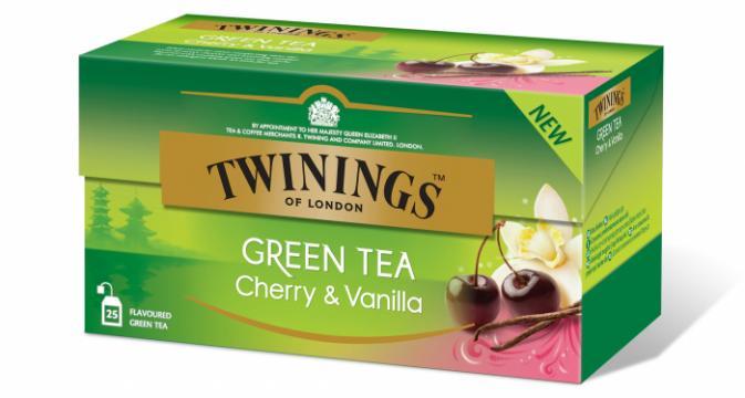 Ceai verde cu cirese & vanilie Twinings 25x1.7g de la KraftAdvertising Srl