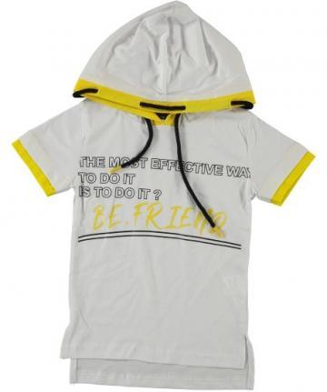 Tricou cu gluga, Hebun, baieti, bumbac, alb cu galben de la A&P Collections Online Srl-d