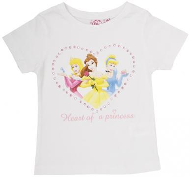 Tricou cu maneca scurta, Printesele Disney, inimioara, alb de la A&P Collections Online Srl-d