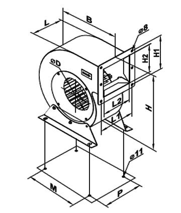 Ventilator centrifugal VCUN 280x127-5.5-2