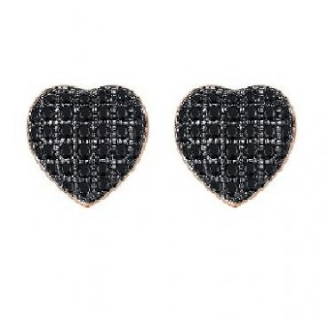 Cercei cu cristale Swarovski Elements Black Heart de la Luxury Concepts Srl