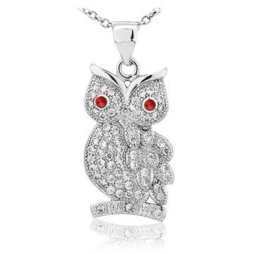 Colier din argint 925 Wise Diamond Owl de la Luxury Concepts Srl
