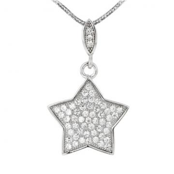 Colier din argint cu cristale cubic zirconia - Steluta de la Luxury Concepts Srl