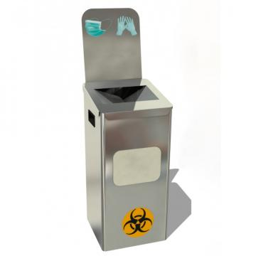 Cos de gunoi pentru masti si manusi, otel inoxidabil, 54L