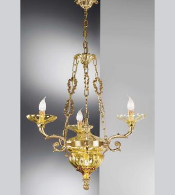 Lampa suspendata cu 5 lumini din alama cu bobeches si sticla de la SC Purify Studio SRL