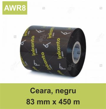Ribon Armor Inkanto AWR8, ceara (wax), negru, 83mmx450m, Out de la Label Print Srl