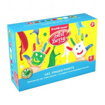 Set acuarele ArtBerry Finger Paints cu aloe vera, 6x100ml de la Sanito Distribution Srl
