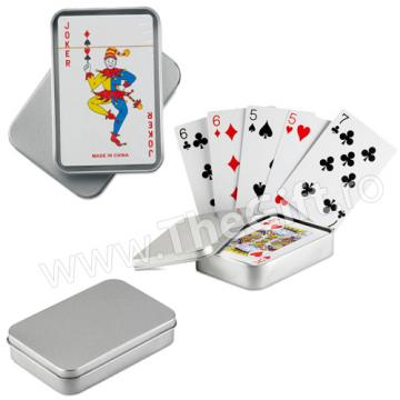 Carti de joc in cutie metalica argintie