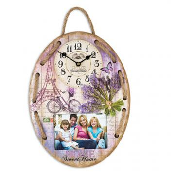 Ceas de perete lila oval 3302