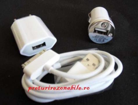 Incarcator iphone 4/4s pentru priza si masina
