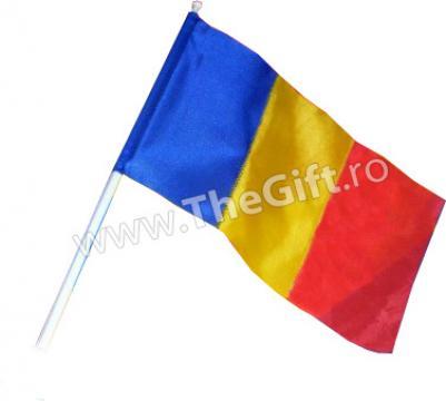 Mini steag Romania, cu maner