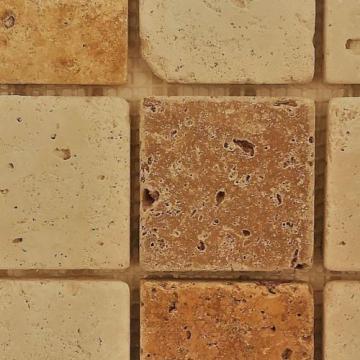 Mozaic Travertin Mixt Crem/Bej Tumbled 4.8 x 4,8 x 1 de la Somes Srl