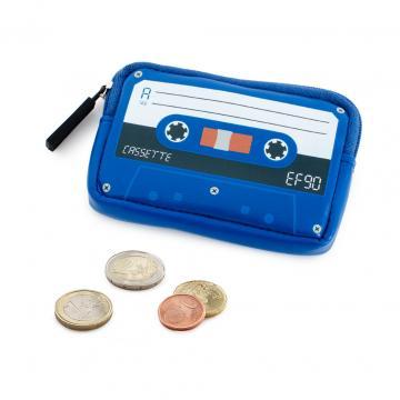 Portofel caseta audio retro bleu