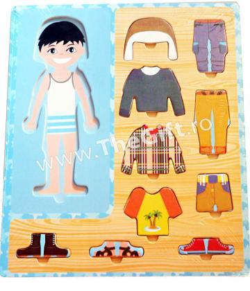 Puzzle din lemn, imbraca fetita sau baietelul de la Thegift.ro - Cadouri Online