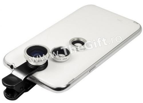 Set 3 lentile foto pentru telefon, Wide, Macro si Fish Eye