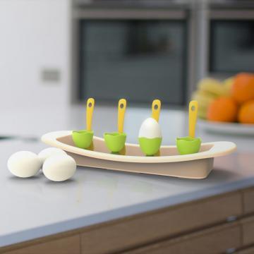Suport cu lingurite servire oua fierte-verde