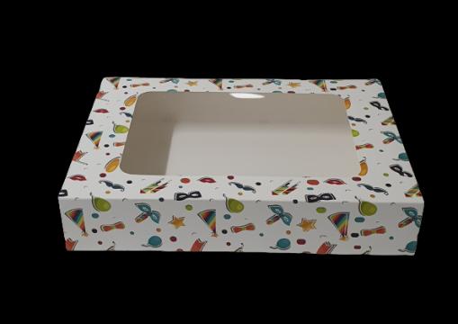 Cutie carton cu fereastra party 24,5x34,5x6,5cm 25 buc/set de la Cristian Food Industry Srl.