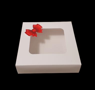 Cutie alba carton cu fereastra si fundita rosie 20x23x9,2cm de la Cristian Food Industry Srl.