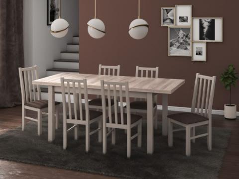 Set masa living Modena1 S cu 6 scaune Boss10 S6, sonoma de la CB Furniture Srl