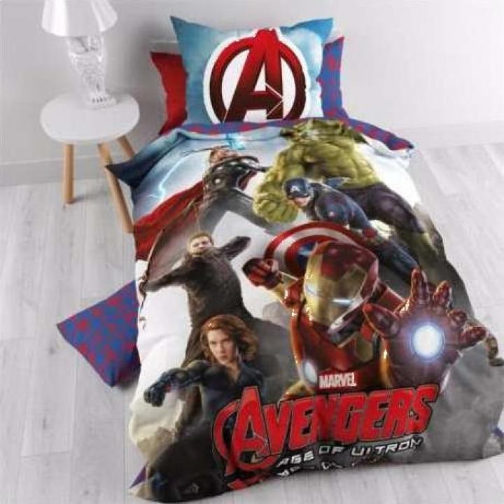 Lenjerie pat bumbac baieti Avengers Power Multi