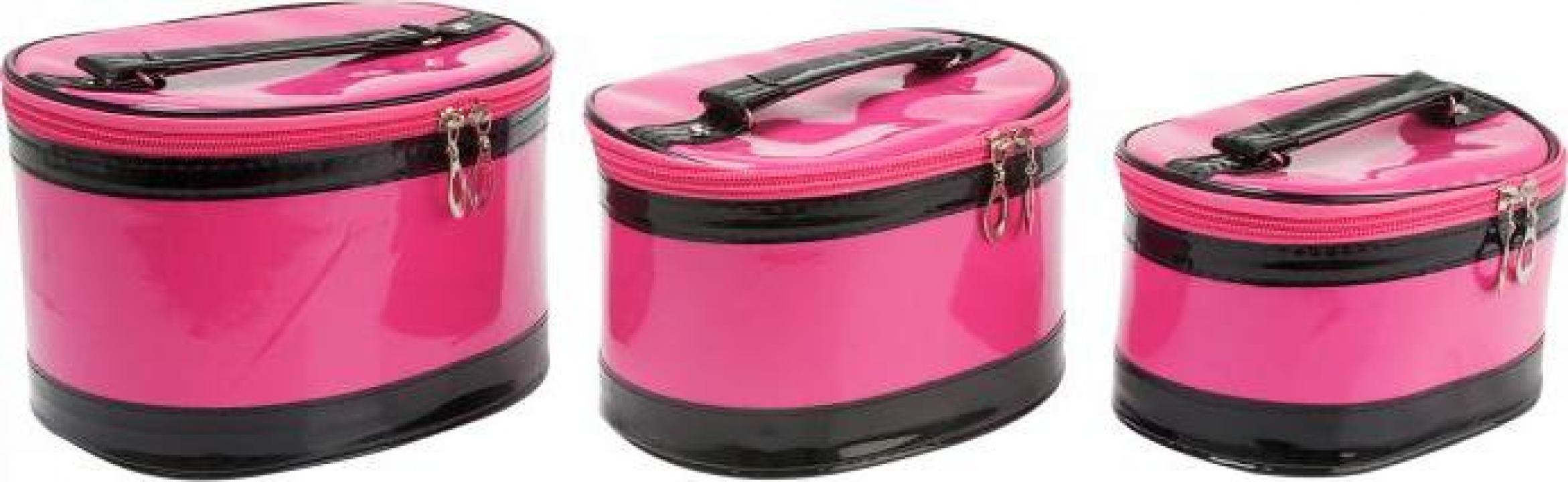 Set 3 genti cosmetica Beauty Case - roz