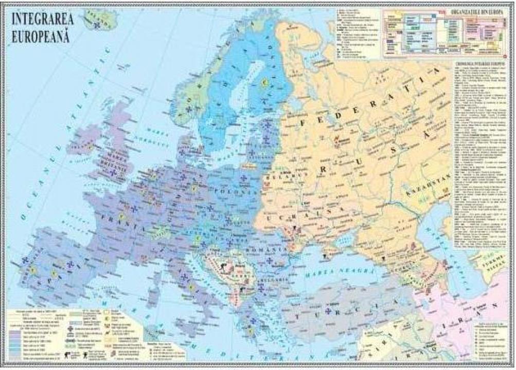Harta murala Europa dupa anul 1989. Integrare europeana