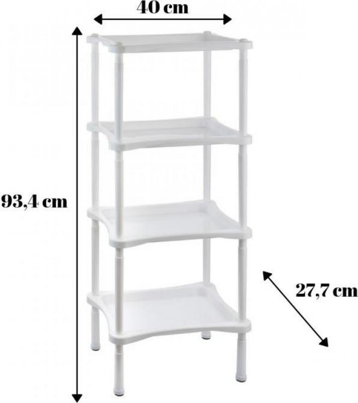 Etajera plastic bucatarie baie 4 rafturi Grotto Comfort-alb