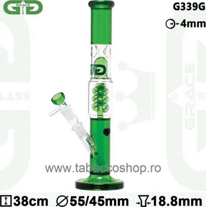Bong din sticla GG OG Series Spiral Green 38cm