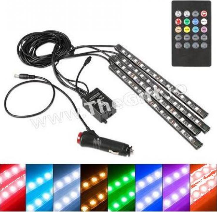 Kit 4 benzi LED RGB interior auto multicolore cu telecomanda