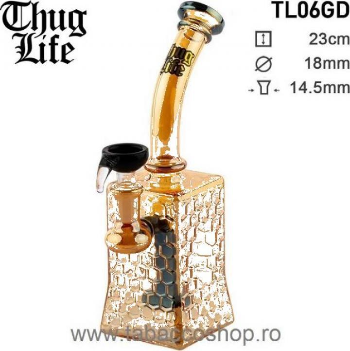 Bong din sticla Thug Life Bubble Giza Gold 23cm