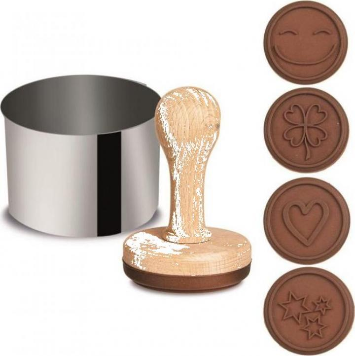 Set 4 forme silicon + decupator biscuiti ciocolata