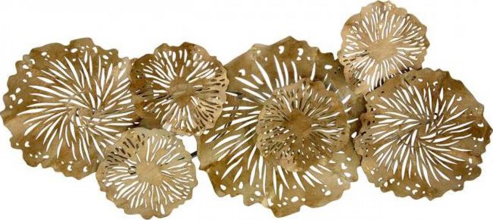 Decoratiune de perete Gold Lily Pads, metal, 44 x 6 x 100 cm