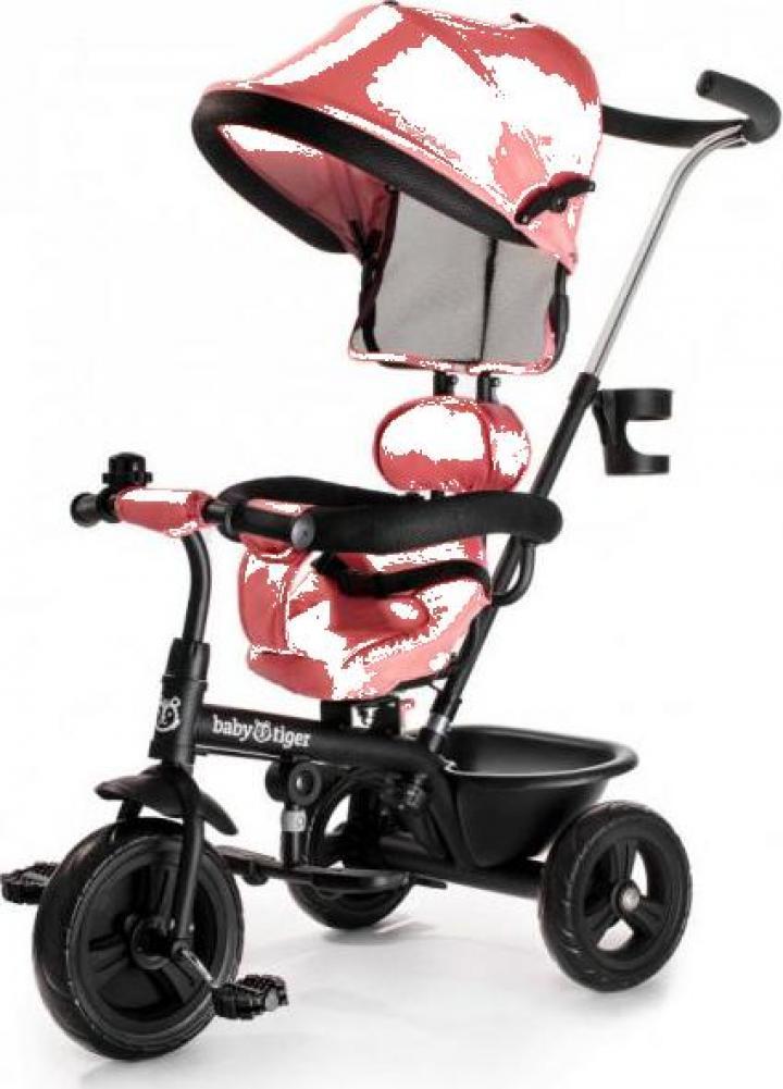 Tricicleta rotativa 360 Baby Tiger Fly roz