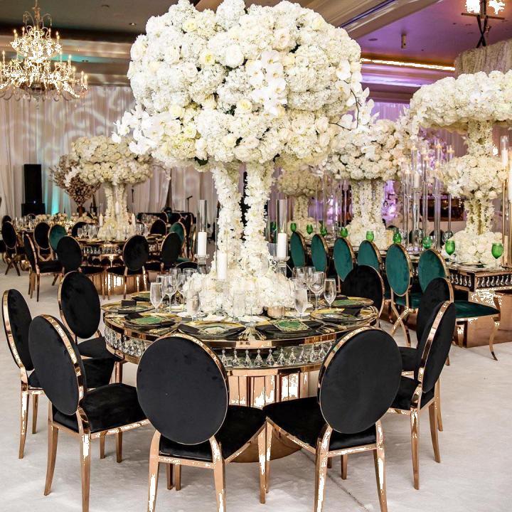 Scaune elegante (inox si catifea) sali evenimente, ballroom