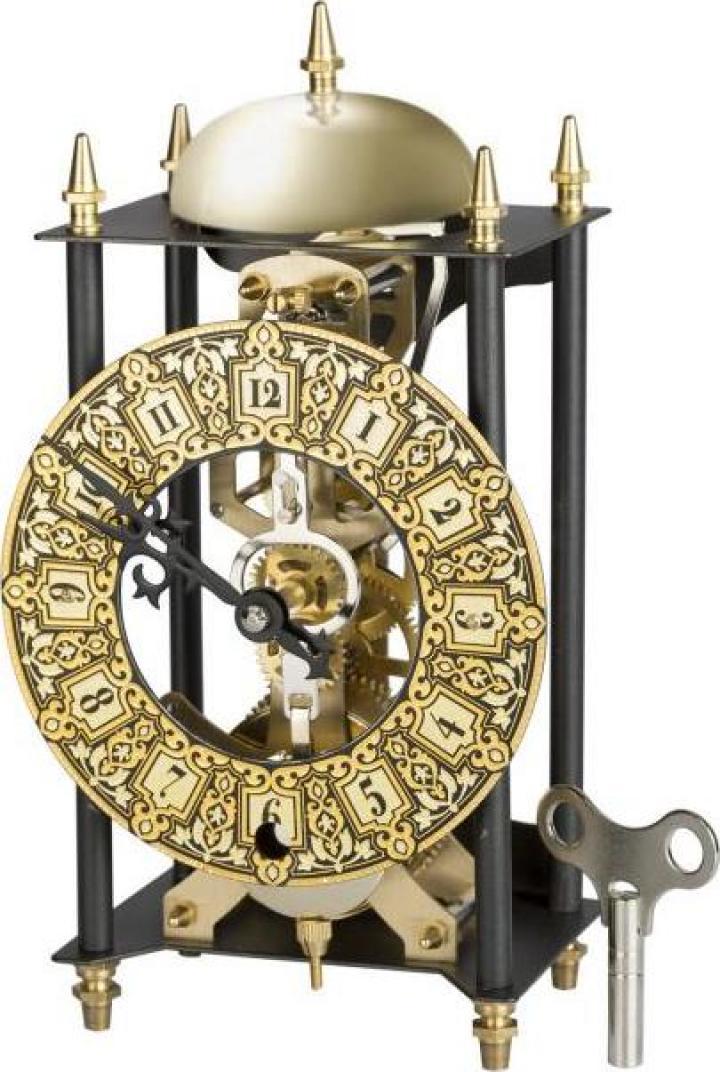 Ceas de birou incrustat cu aur de 24 Kt Skeleton