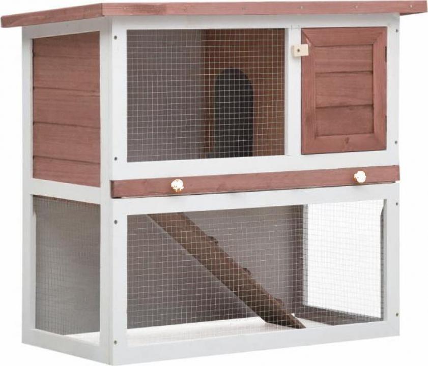 Cusca de iepuri pentru exterior, 1 usa, maro, lemn