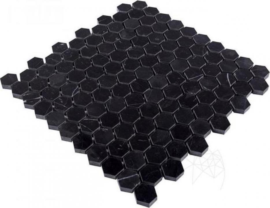 Mozaic marmura polisata Nero Marquina Hexagon